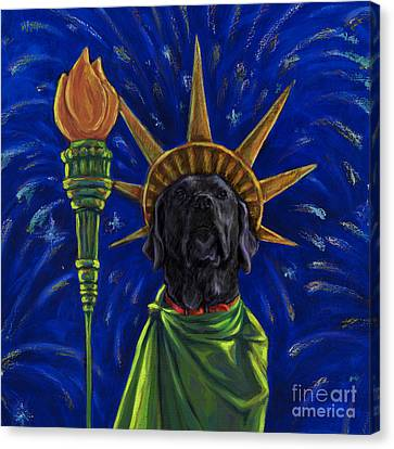 Lady Liberty - Black Canvas Print by Kathleen Harte Gilsenan