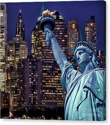 Lady Liberty By Night Canvas Print by Delphimages Photo Creations