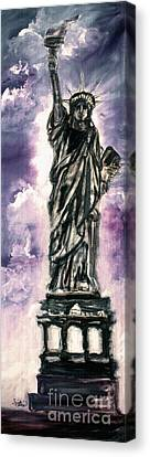 Lady Liberty Charcoal And Oil Canvas Print by Ginette Callaway