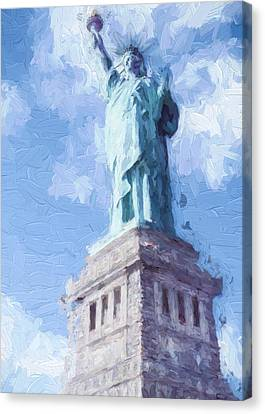 Canvas Print featuring the painting Lady Liberty by Ike Krieger