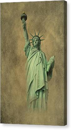 Statue Of David Canvas Print - Lady Liberty New York Harbor by David Dehner