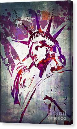 Lady Liberty Watercolor Canvas Print by Delphimages Photo Creations