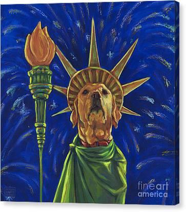 Lady Liberty - Yellow Canvas Print