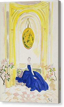 Window Canvas Print - Lady Mendl Wearing A Blue Dress by Cecil Beaton