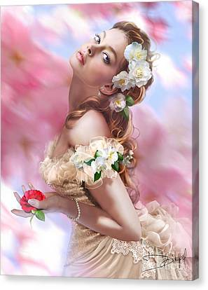Lady Of The Camellias Canvas Print by Drazenka Kimpel