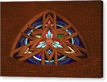 Lady Of The Lake Stained Glass Window Canvas Print
