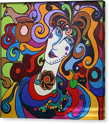 Canvas Print featuring the painting Lady Of The Opera  Varga by Alison Caltrider