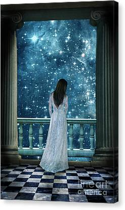 Lady On Balcony At Night Canvas Print