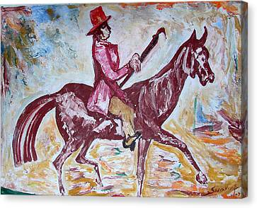 Canvas Print featuring the painting Lady On Horse by Anand Swaroop Manchiraju