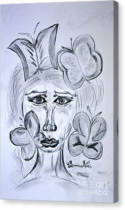 Lady Queen Of Butterflies Canvas Print by Ramona Matei