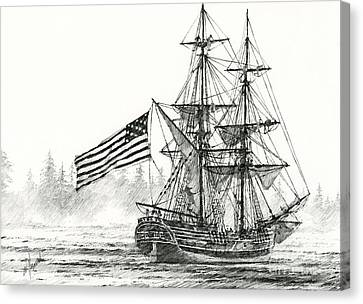 Lady Washington At Friendly Cove Canvas Print by James Williamson