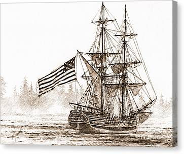 Lady Washington At Friendly Cove Sepia Canvas Print by James Williamson