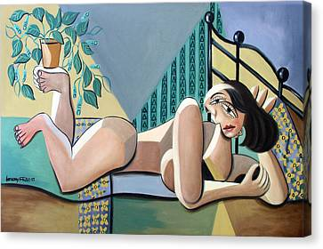 Lady With A Green Thumb Canvas Print by Anthony Falbo