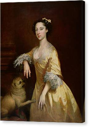 Lady With A Pug Dog Canvas Print