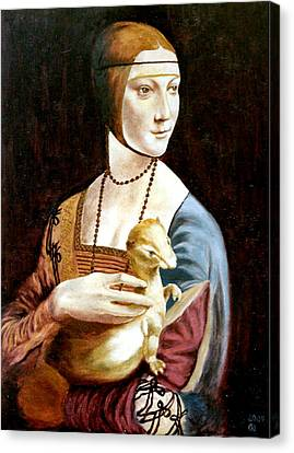 Lady With An Ermine Canvas Print by Henryk Gorecki