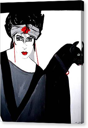 Lady With Cat Canvas Print by Nora Shepley