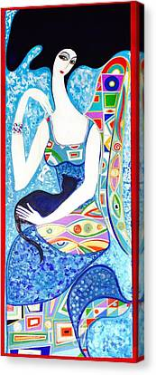 Lady With Cat  Canvas Print by Yelena Wilson