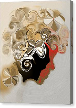 Canvas Print featuring the digital art Lady With Curls by Gillian Owen