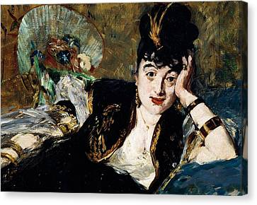 Lady With Fan Portrait Of Marie Anne De Callias Known As Nina De Callias Canvas Print by Edouard Manet