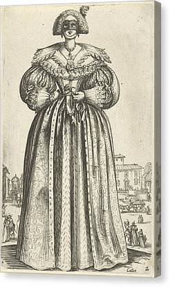 Lady With Mask And Flower, Seen From The Front Canvas Print by Anonymous
