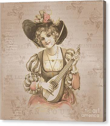 Lady With Music Roses Background Canvas Print by Art World
