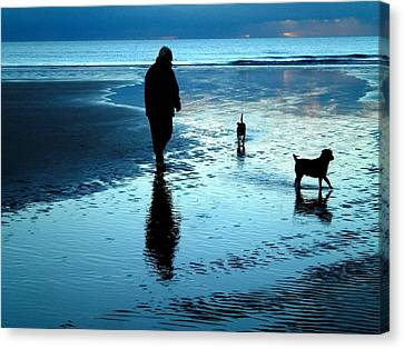 Lady With The Little Dogs Canvas Print by Russ Murry