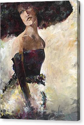 Lady With The Netted Hat Canvas Print