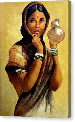 Lady With The Pot Canvas Print by Farah Faizal