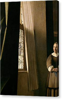 Detail From A Lady Writing A Letter With Her Maid Canvas Print by Jan Vermeer