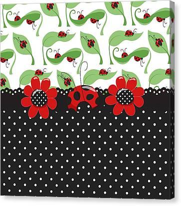 Spring Canvas Print - Ladybug Flower Power by Debra  Miller