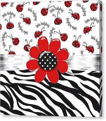 Ladybug Canvas Print - Ladybug Wild Thing by Debra  Miller