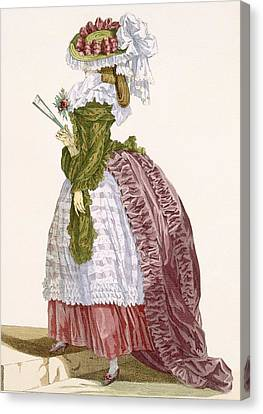 Ladys Elaborate Gown In Burgundy Canvas Print by Francois Louis Joseph Watteau