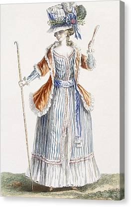 Ladys Shepherds-style Dress, Engraved Canvas Print