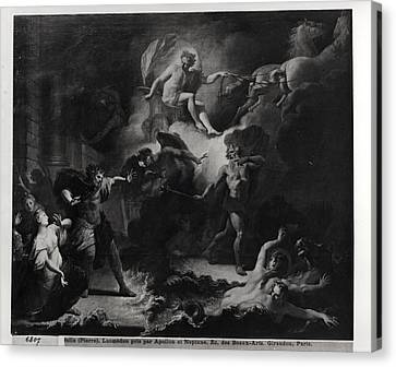 Laemedon Punished By Apollo And Poseidon, 1707 Oil On Canvas Bw Photo Canvas Print by Pierre Dulin