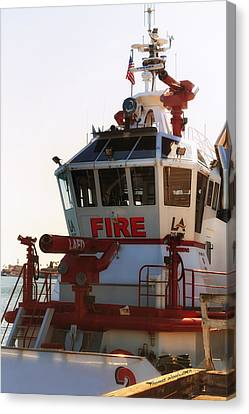 Lafd Fire Boat 2 San Pedro Ca Canvas Print by Thomas Woolworth