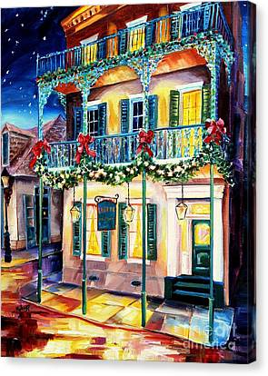 Lamp Post Canvas Print - Lafitte Guest House At Christmas by Diane Millsap