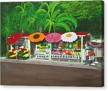 Laguna Beach Flower Stand Canvas Print by Mike Robles