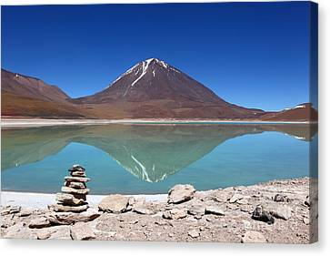 Laguna Verde And Licancabur Volcano Canvas Print by James Brunker