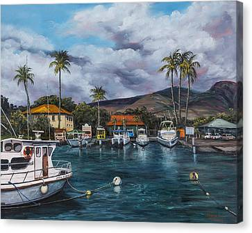 Canvas Print featuring the painting Lahaina Harbor by Darice Machel McGuire