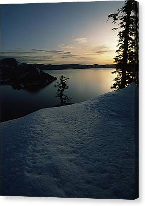 Wizard Island Canvas Print - Lake At Sunset, Llao Rock, Wizard by Panoramic Images