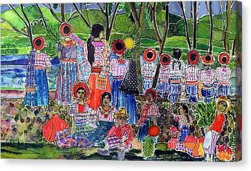 Lake Atitlan, 2005 Dyes On Silk Canvas Print