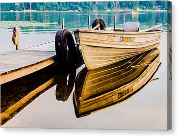 Lake Boat Reflection Canvas Print