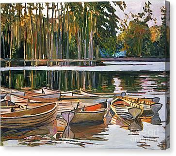 Lake Boats Paris Canvas Print by David Lloyd Glover