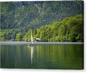 Boats In Water Canvas Print - Lake Bohinj Bohinjsko Jezero, Triglav by Panoramic Images