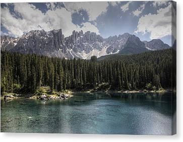 Lake Carezza Canvas Print by Uri Baruch