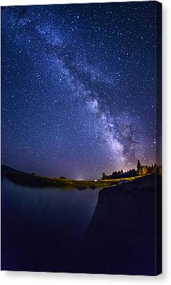 Night-scape Canvas Print - Lake Cascade And Milky Way by Vishwanath Bhat