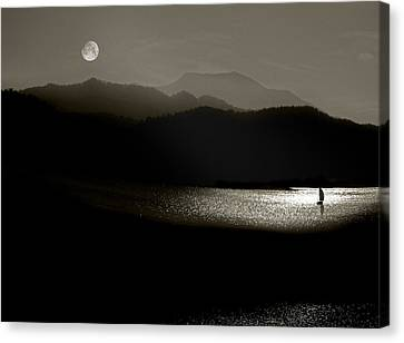 Lake Chatuge Moon Sail Canvas Print by William Schmid