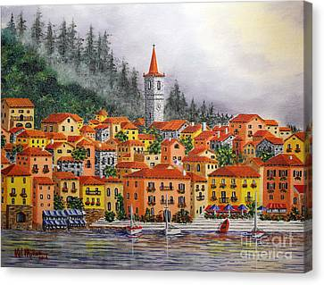 Canvas Print featuring the painting Lake Como Italy by Val Miller