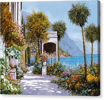 Lake Como-la Passeggiata Al Lago Canvas Print by Guido Borelli