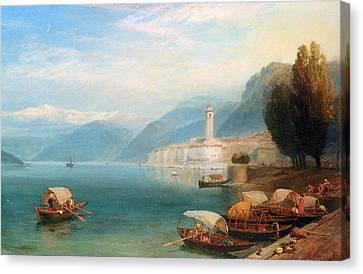 Lake Como Canvas Print by Myles Birket Foster